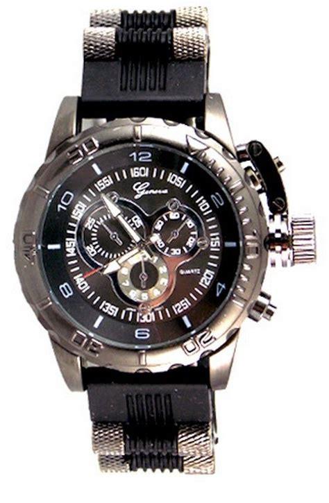 Black Mens Geneva Oversized Designer Fashion Luxury Watch