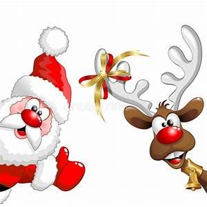 Christmas Reindeer And Santa Fun Cartoons Stock Vector ...