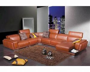 Modern orange leather sectional sofa 44l2996 for Contemporary orange sectional sofa