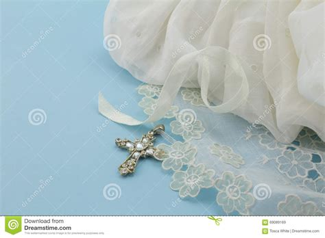 Baptism Decoration Ideas For Boy by Vintage Baby Baptism Dress On Blue Background With Cross