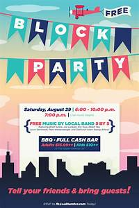 block party flyer poster design template open house With block party template flyers free