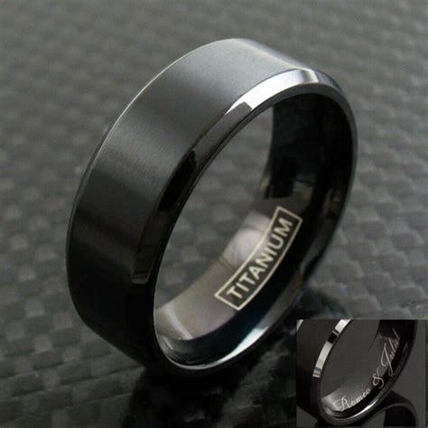 black titanium s brushed finish stripe wedding band