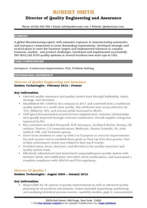 Resume Eg by Director Of Quality Resume Sles Qwikresume