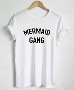 Mermaid gang letters print women t shirt cotton casual for How to print letters on a shirt