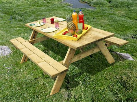 comment for table de jardin en bois avec banc integre