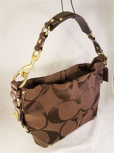 coach carly large signature jacquard bucket purse  brown canvas  leather hobo bag