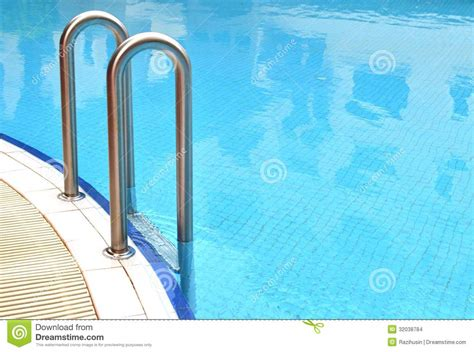 Swimming Pool Grab Bars Ladder Stock Photo