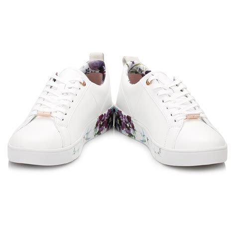 genuine leather lace up sneakers ted baker womens white barrica trainers floral sport