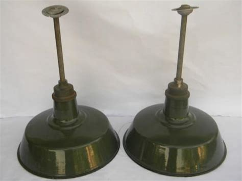 pair of 18 industrial vintage barn stable pendant