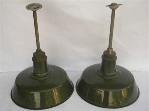 pair of 18 industrial vintage barn stable pendant