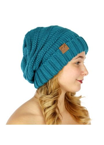 teal slouchy knit beanie hat