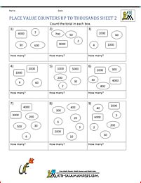 place value worksheets counters up to thousands 2