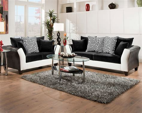 Black, White Couch Set, Patterned Pillows