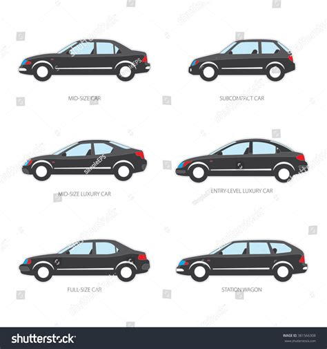 Vector Illustration Types Cars Midsize Subcompact Stock