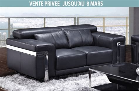vente privée canapé cuir canapé 2 places en cuir italien astoria noir mobilier privé