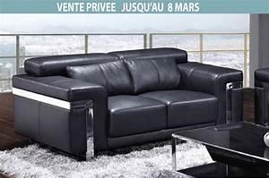 Canapé Cuir De Buffle : canap 2 places en cuir italien astoria noir mobilier priv ~ Melissatoandfro.com Idées de Décoration