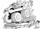 Coloring Monster Truck Pages Printable Digger Crushing Cars sketch template
