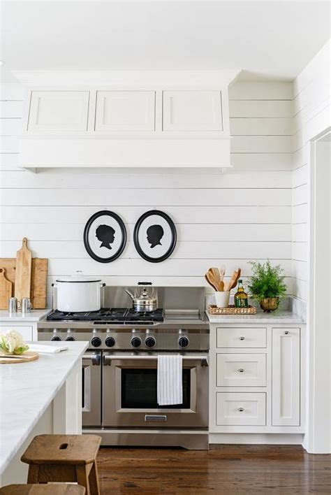 Kitchens With Shiplap Walls by Black And White Silhouette Stove Country Kitchen
