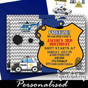Diaper Invite Template Police Birthday Party Invitation Personalized