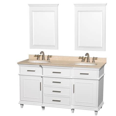 Ackley 60 Inch White Finish Double Sink Bathroom Vanity