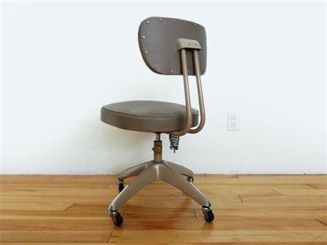 vintage grey industrial rolling desk chair mid century office