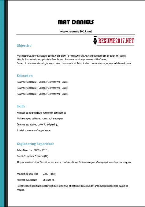 Free Resume by Free Resume Templates 2017