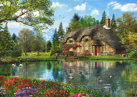 The Cottage Painting by Lake View Cottage Painting By Dominic Davison
