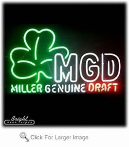 Miller Genuine Draft Neon Sign with Shamrock only $299 99