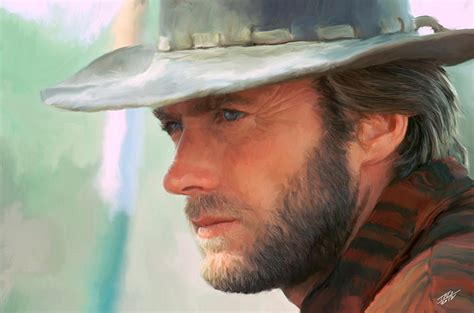canvas wall decor clint eastwood painting by paul tagliamonte