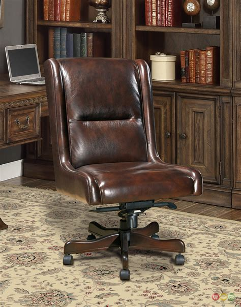 cigar brown genuine leather armless desk chair traditional