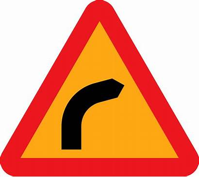 Bend Dangerous Right Clip Turn Sign Clipart