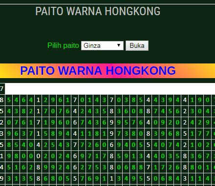 paito warna hongkong data result warna tablepaito