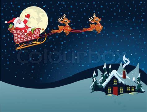 cartoon illustration  santa claus   sleigh stock