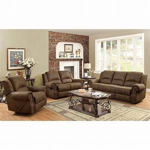 Coaster rawlinson microfiber motion reclining sofa set in for Sofa bed and recliner set