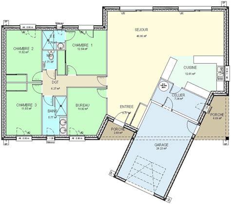 plan maison plein pied 4 chambres cuisine plan maison plein pied plan maison plain pied