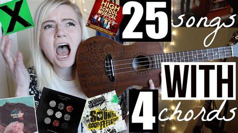 4 chords, 36 songs on guitar. 4 chords, 25 songs on UKULELE - YouTube