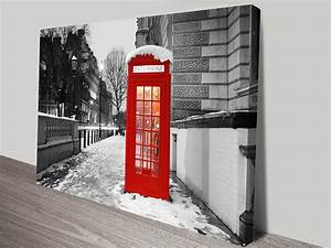 Old telephone box canvas photo print