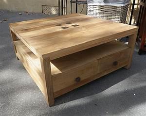 Table Salon Carrée : table basse teck keywest le meilleur du teck grade a dans cette table basse ~ Teatrodelosmanantiales.com Idées de Décoration