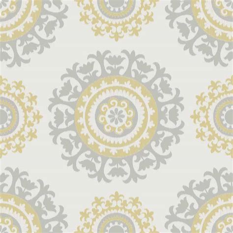 Grey and Yellow Suzani Peel And Stick NuWallpaper