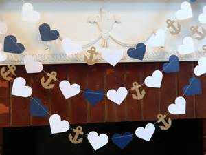 Image of: Wedding Garland 10ft Anchor Heart Garland Navy 2 Ultimate Unique Bridal Shower Décor Based On Specific Concept