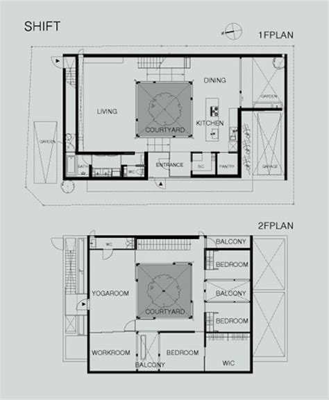 shift architecture modern japanese courtyard home   courtyard house plans courtyard