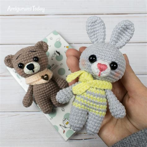 tiny crochet bear  bunny printable  amigurumi