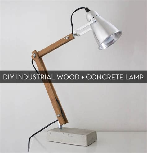 diy industrial modern wood  concrete table lamp