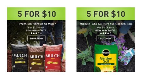 Home Depot Garden Soil 4 For 10 lowes mulch sale mega deals and coupons
