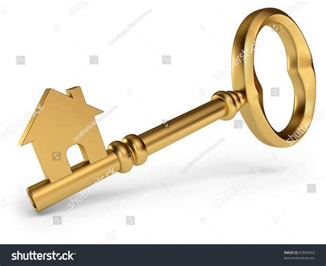 House Key On White Background 3d Stock Illustration