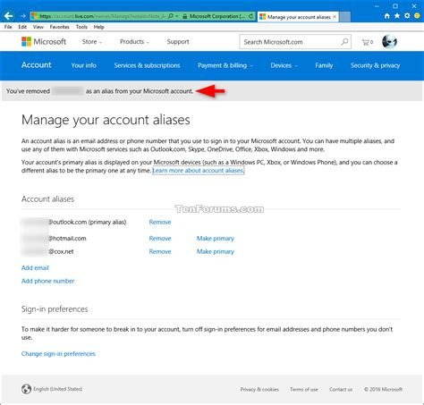 add or remove microsoft account aliases windows 10 tutorials