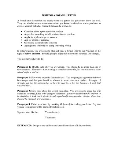 Formal Letter - Task and Guidance by dshowarth   Teaching