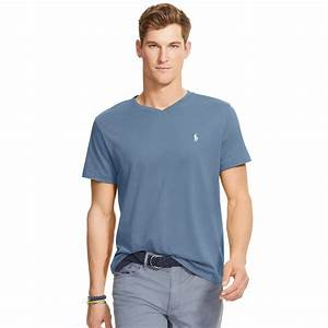Polo V : lyst polo ralph lauren cotton jersey v neck t shirt in blue for men ~ Gottalentnigeria.com Avis de Voitures