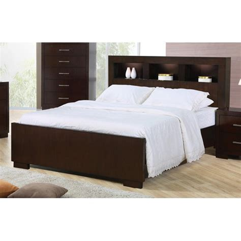 Jessica King Bed w/ Lighted Head Board in Cappuccino