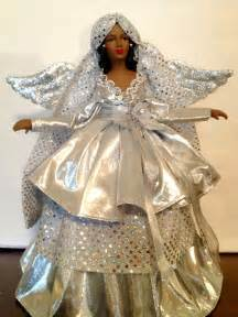 silver christmas angel tree top african american handcrafted